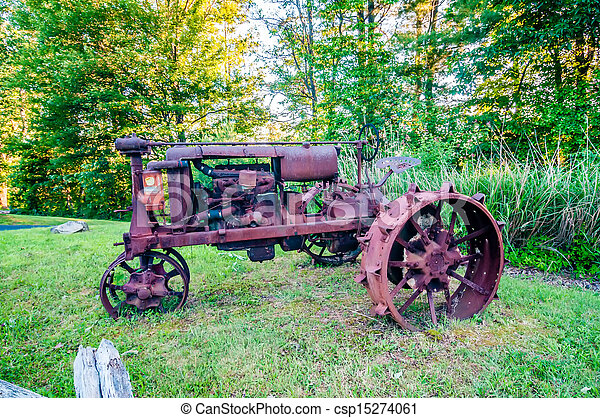 old rusty agriculture farm tractor - csp15274061