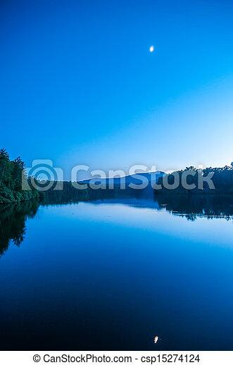 North Carolina Grandfather Mountain Julian Price Memorial Park Lake Blue Hour Reflection - csp15274124
