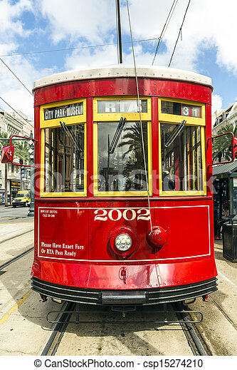 red trolley streetcar on rail in New Orleans French Quarter  - csp15274210