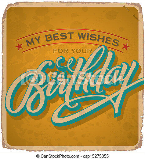 vintage birthday card (vector) - csp15275055