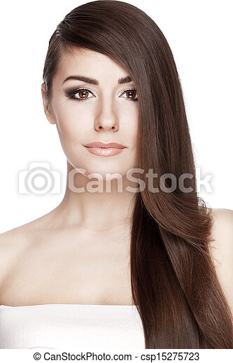Beautiful young brunette woman with long hair hair - csp15275723