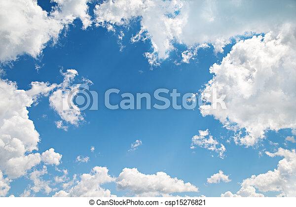 美麗, 藍色, 云霧, 背景, 天空 - csp15276821