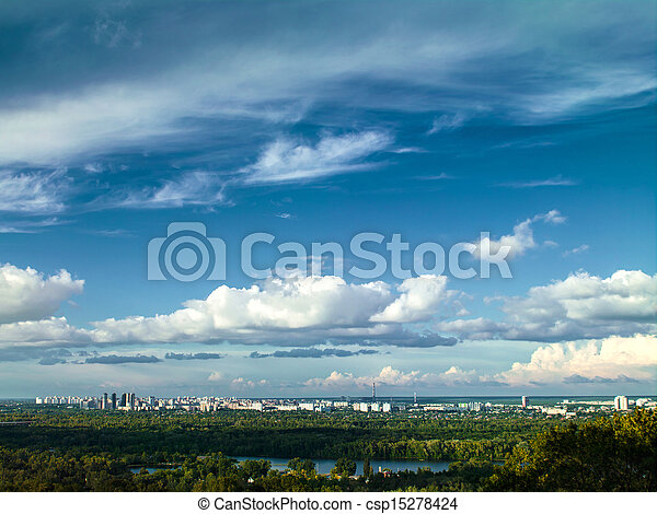 White city under the blue skies, urban landscape - csp15278424