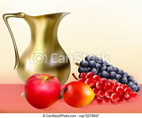 EPS vector de dorado, vida, jarra, Mangos, uvas, todavía, manzana ...