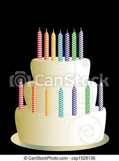 torta, bianco, compleanno, tre, strato - csp1528136