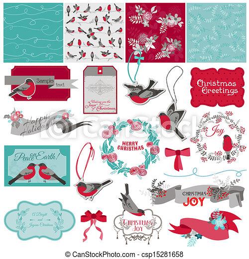 Scrapbook Design Element - Christmas Birds Theme - in vector - csp15281658