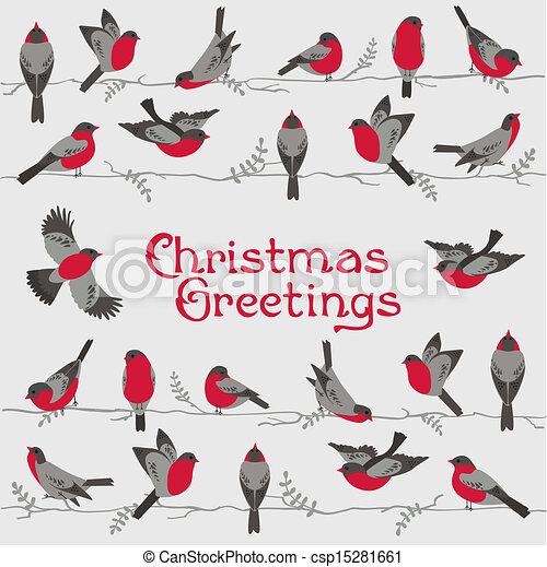 Retro Christmas Card - Winter Birds - for invitation, congratulation in vector - csp15281661