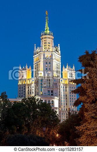 Moskou, stalin, wolkenkrabber, dijk, moskou, rivier, yauza, rivier