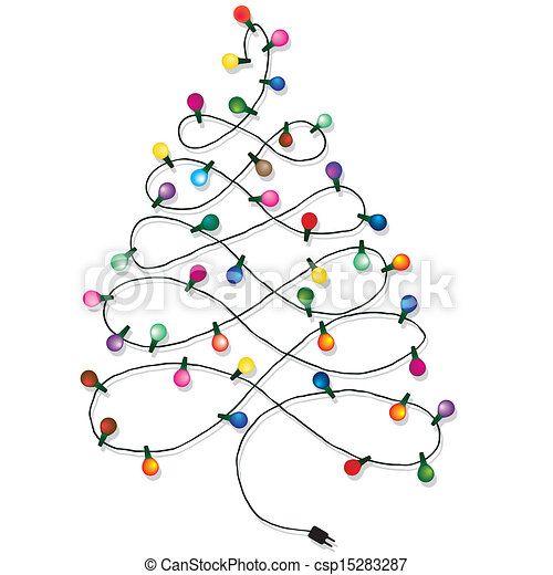Vector Of Christmas Tree Garland Lights String Of