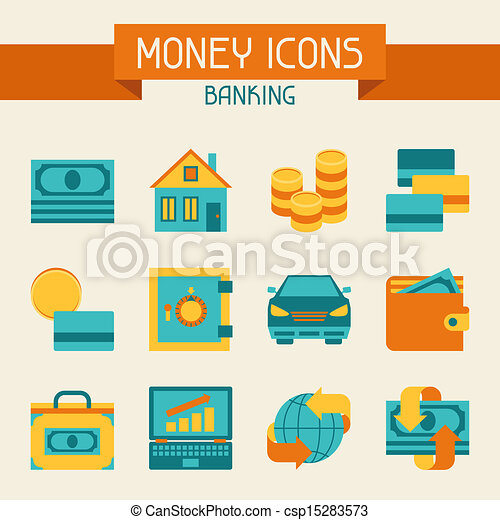 Set of money and banking icons. - csp15283573