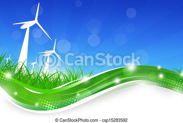 Green Power Wind Turbines Illustration - csp15283592