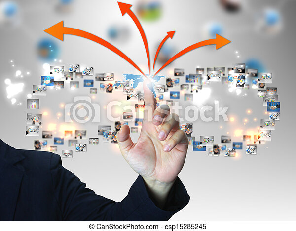 Businessman pressing business communication - csp15285245