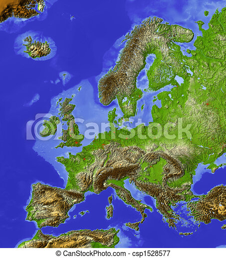 Europe, shaded relief map - csp1528577