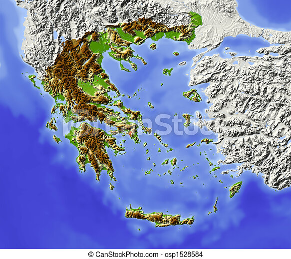 Greece, shaded relief map - csp1528584