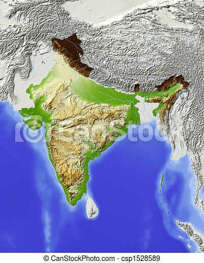 India, shaded relief map - csp1528589