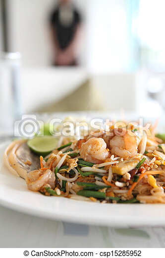 Thai food padthai fried noodle with shrimp - csp15285952