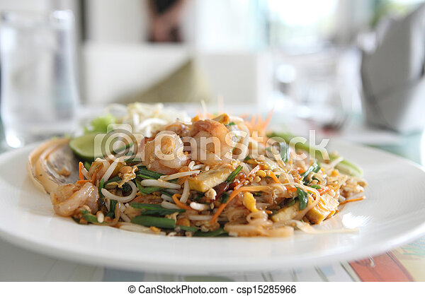 Thai food padthai fried noodle with shrimp - csp15285966