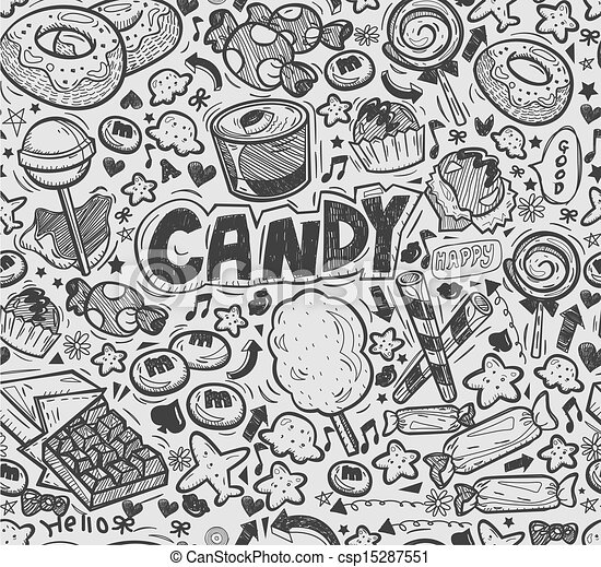 Candy Wrappers Drawing Vector Seamless Doodle Candy