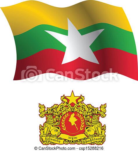 burma wavy flag and coat - csp15288216