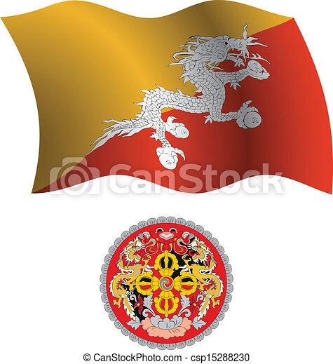 bhutan wavy flag and coat - csp15288230