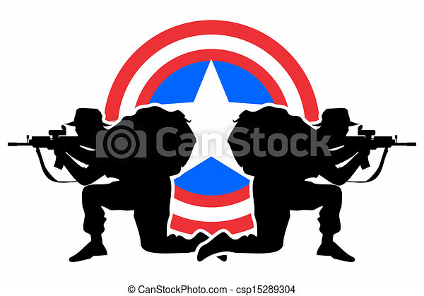 Vector Clipart of Defense shield - American soldiers ...