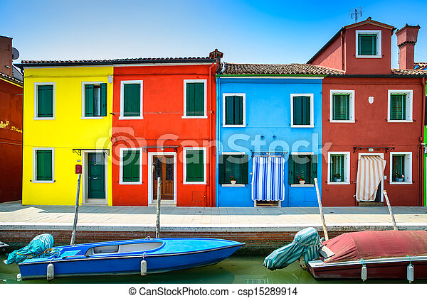 Venice landmark, Burano island canal, colorful houses and boats, Italy - csp15289914
