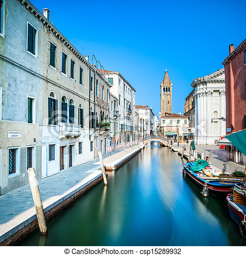 Venice cityscape, Campo San Barnaba water canal, campanile church on background, building and boats. Long Exposure photography. Italy, Europe. - csp15289932