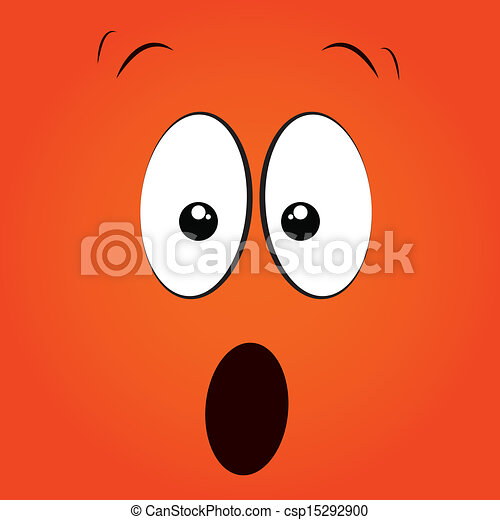Vector Clipart of surprised face on orange background csp15292900 ...