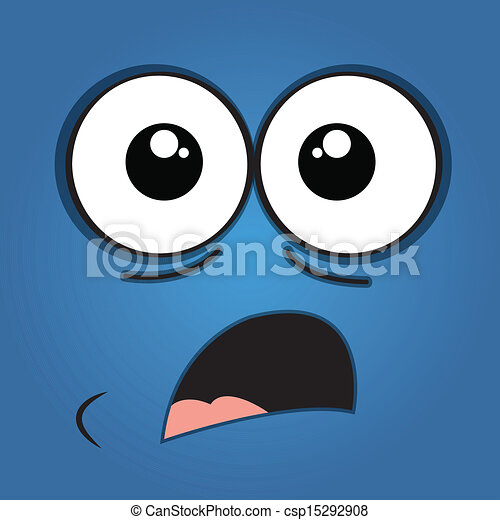 Vector Clipart of surprised face on blue background csp15292908 ...