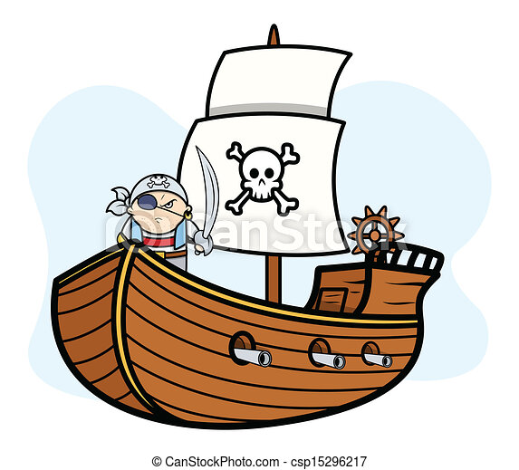 Vector - Pirate Captain with Pirate Ship - stock illustration, royalty ...