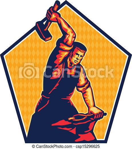 Blacksmith Worker Striking Sledgehammer Anvil Retro - csp15296625