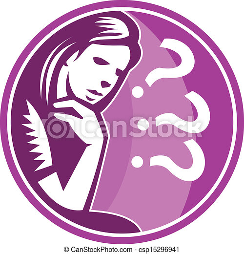 Woman Thinker Thinking Worry Retro - csp15296941