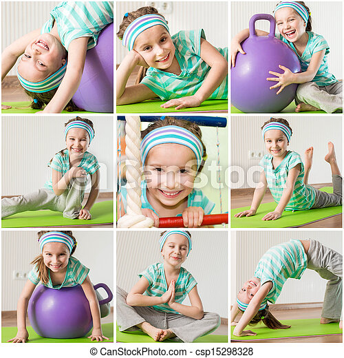 little girl engaged in fitness at home - csp15298328