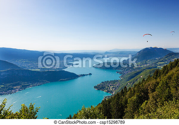 View of the Annecy lake from  Col du Forclaz - csp15298789