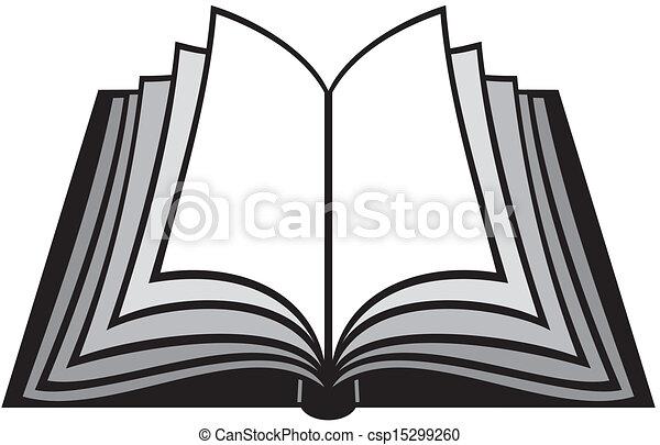 Open Book Line Drawing Clip Art Vector...