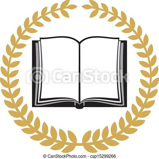 open book and laurel wreath (book emblem, book symbol, school symbol ...