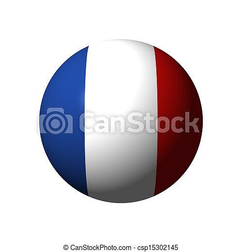 kugelförmig, Fahne, Frankreich - csp15302145
