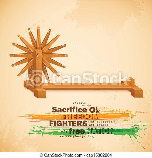 Spinning Wheel on India background - csp15302204