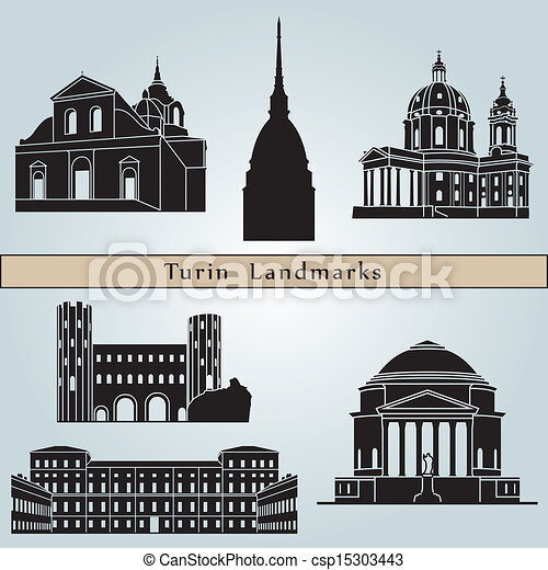Turin landmarks and monuments isolated - csp15303443