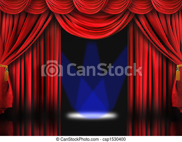 Red Theater Stage With Blue Spot Lights - csp1530400