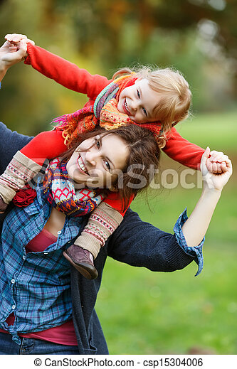 Mother and daughter in the park - csp15304006