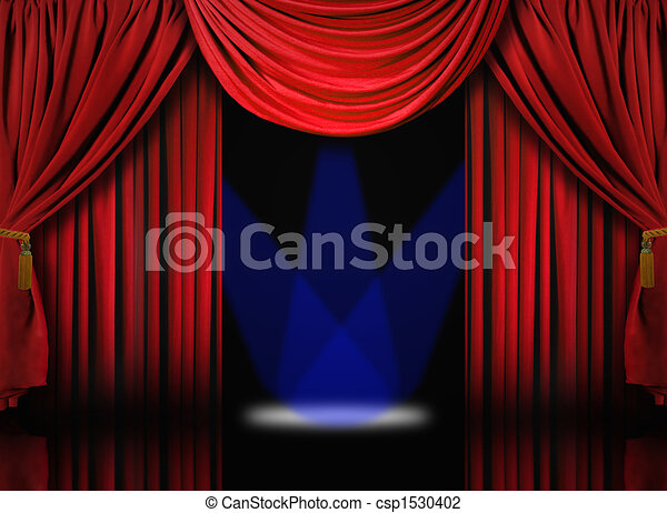 Velvet Theater Stage Drape Curtains With Blue Spotlights - csp1530402