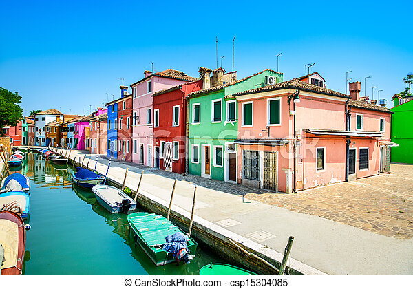 Venice landmark, Burano island canal, colorful houses and boats, Italy - csp15304085