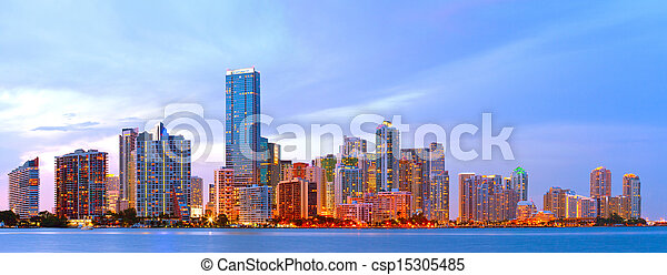 City of Miami Florida, colorful night panorama of downtown business and residential buildings - csp15305485
