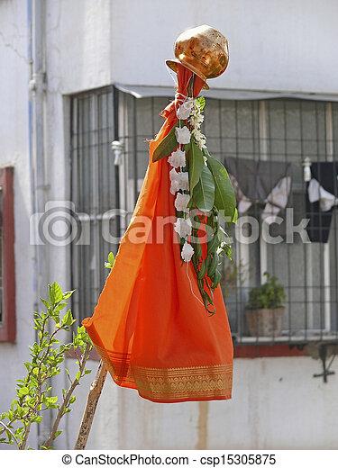Indian Festival Religion Hindu Gudhi Gudipadva Hindu New Year day, India - csp15305875