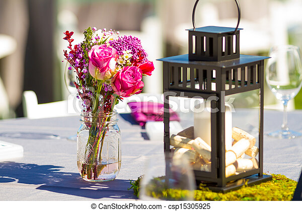 Wedding Reception Table Details - csp15305925