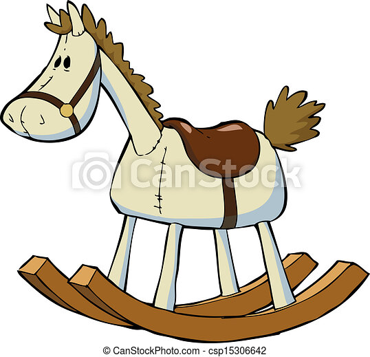 eps vector of toy horse - toy rocking horse on a white background ... - Baby Rocking Horse Coloring Pages