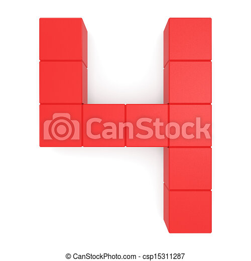 Number 4 Cubic Red 15311287