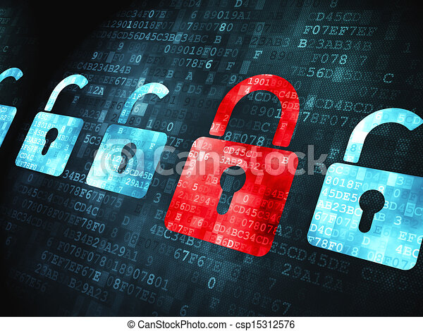 Security concept: Locks on digital background - csp15312576
