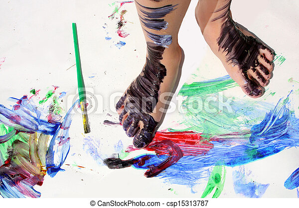 Painted Kid's Feet on Art Project - csp15313787